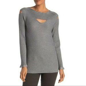 CYRUS Ribbed Cutout Peekaboo Sweater GRAY SMALL